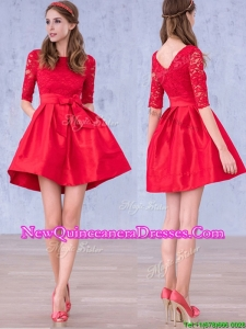Romantic Bowknot and Laced Scoop Half Sleeves Dama Dress in Red