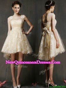 See Through Scoop Champagne Dama Dress with Hand Made Flowers and Bowknot