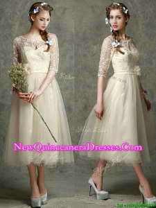 See Through Scoop Half Sleeves Dama Dress with Hand Made Flowers and Lace