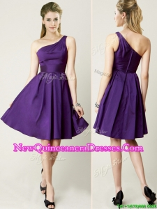 Beautiful One Shoulder Purple Short Dama Dress for Summer