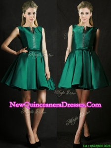 Classical A Line Green Short Dama Dress with Beading and Belt