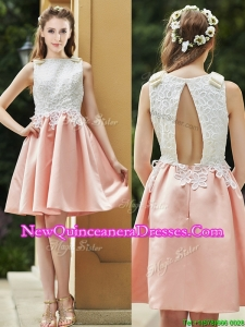Elegant Bateau Open Back Applique Short Dama Dress in Pink