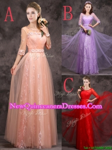 Exclusive See Through Scoop Applique and Laced Dama Dress with Half Sleeves
