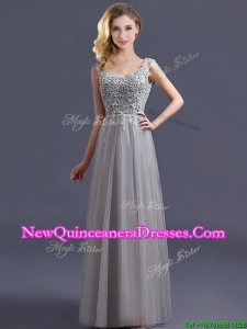 Most Popular Scoop Grey Long Dama Dress with Appliques