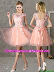 New Style Bateau Peach Short Dama Dress with Lace