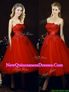 Perfect Puffy Skirt Strapless Applique Tea Length Red Dama Dress