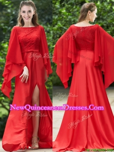 Pretty Bateau Long Sleeves Red Dama Dress with Beading and High Slit
