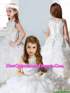 2016 Fashionable Asymmetrical Neckline Little Girl Pageant Dress with Beading and Ruffles
