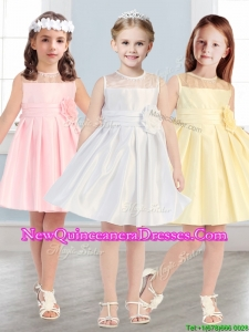 2016 See Through Scoop Little Girl Pageant Dress with Hand Made Flowers
