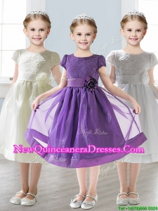 2016 Wonderful Scoop Short Sleeves Little Girl Pageant Dress with Appliques and Lace