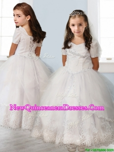 2016 Best Square Short Sleeves White Little Girl Pageant Dress with Beading and Appliques