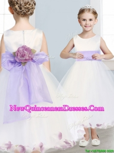 2016 Fashionable Scoop Hand Made Flowers and Appliques Little Girl Pageant Dress in White