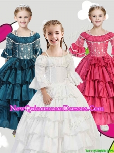2016 Gorgeous Spaghetti Straps Three Fourth Length Sleeves Little Girl Pageant Dress with Lace and Ruffled Layers