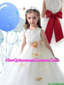 2016 Luxurious Scoop White Little Girl Pageant Dress with Sashes and Hand Made Flowers