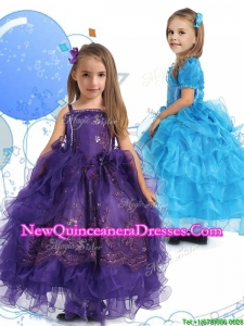 2016 Luxurious Spaghetti Straps Little Girl Pageant Dress with Lace and Ruffled Layers