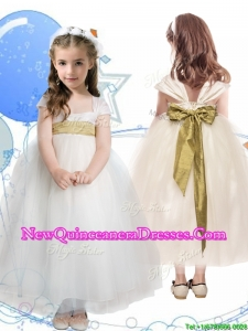 2016 New Arrivals Square Cap Sleeves Little Girl Pageant Dress with Sashes