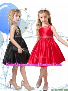 2016 New Style Beaded Scoop Little Girl Pageant Dress in Knee Length