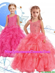 2016 Perfect Beaded and Ruffled Asymmetrical Neckline Little Girl Pageant Dress in Watermelon Red