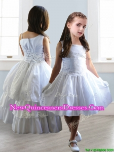 2016 Popular Asymmetrical Neckline Detachable Little Girl Pageant Dress with Appliques