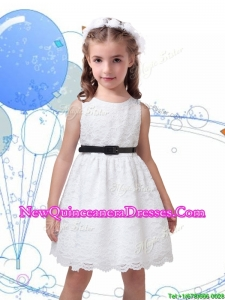 2016 Popular Laced Scoop Little Girl Pageant Dress with Black Sashes