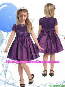 2016 See Through Scoop Purple Little Girl Pageant Dress with Lace and Belt