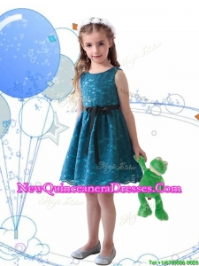 2016 Wonderful Laced and Sashed Scoop Little Girl Pageant Dress in Teal