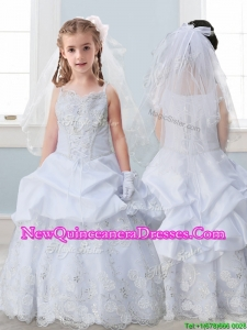 Best Spaghetti Straps Little Girl Pageant Dress with Lace and Pick Ups