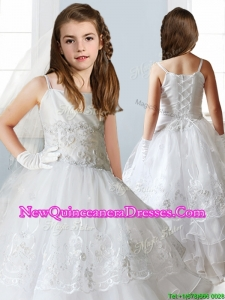 Luxurious White Spaghetti Straps Flower Girl Dress with Appliques and Ruffled Layers