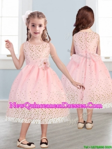 Beautiful Scoop Little Girl Pageant Dress with Hand Made Flowers and Sequins