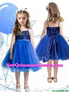 Fashionable Spaghetti Straps Royal Blue Little Girl Pageant Dress with Sashes and Sequins