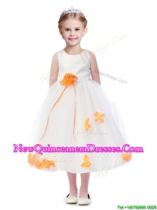 Popular Scoop Little Girl Pageant Dress with Orange Red Hand Made Flowers