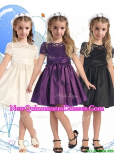 See Through Scoop Short Sleeves Little Girl Pageant Dress with Lace and Belt