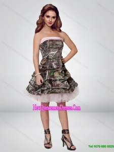 2015 Perfect Short Strapless Camo Cheap Damas Dresses with Ruching