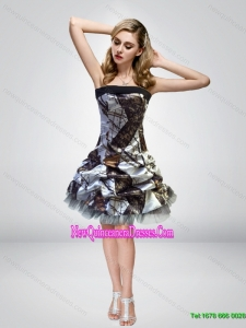 2015 Unique Short Knee Length Camo Cheap Damas Dresses with Strapless