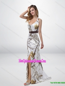 Classical Column Halter Top Camo Cheap Damas Dresses with Sashes