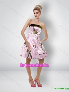 Comfortable Short Strapless Baby Pink Camo Cheap Damas Dresses