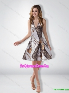 Unique A Line Halter Camo Cheap Damas Dresses with Ruching