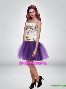 The Super Hot Mini Length Strapless Camo Cheap Damas Dresses in Multi Color