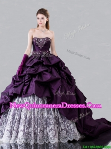 Pretty Brush Train Beaded and Bubble Sweet 16 Dress in Taffeta and Lace