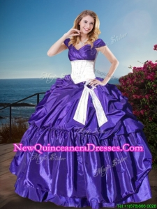 Affordable Off the Shoulder Cap Sleeves Quinceanera Gown with Belt and Pick Ups