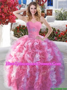 Popular Rose Pink and White Quinceanera Dress with Beading and Ruffles