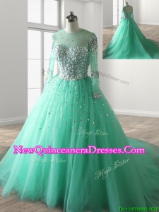 See Through Scoop Long Sleeves Beading Sweet 16 Dress with Brush Train