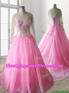 See Through Scoop Long Sleeves Quinceanera Dress with Beading