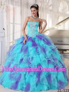 Cheap Ball Gown Strapless Organza Quinceanera Dress with Appliques and Ruffles