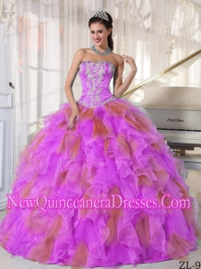 Cheap Strapless Organza Appliques Quinceanera Dress
