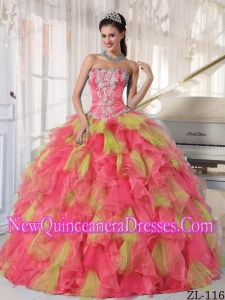 Organza Strapless Quinceanera Dress with Beading and Appliques