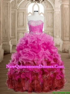 Best Selling Rainbow Quinceanera Dress with Beading and Ruffles