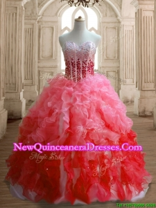 Perfect Gradient Color Organza Quinceanera Dress with Beading and Ruffles