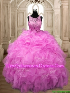 See Through Scoop Hot Pink Sweet 16 Dress with Beading and Ruffle