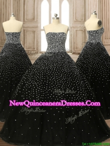 Latest Strapless Beading Black Quinceanera Dress with Brush Train